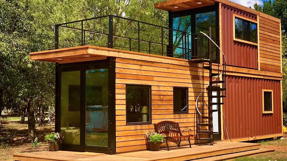 Stacked Two Story Shipping Container Home Has Roof Terrace