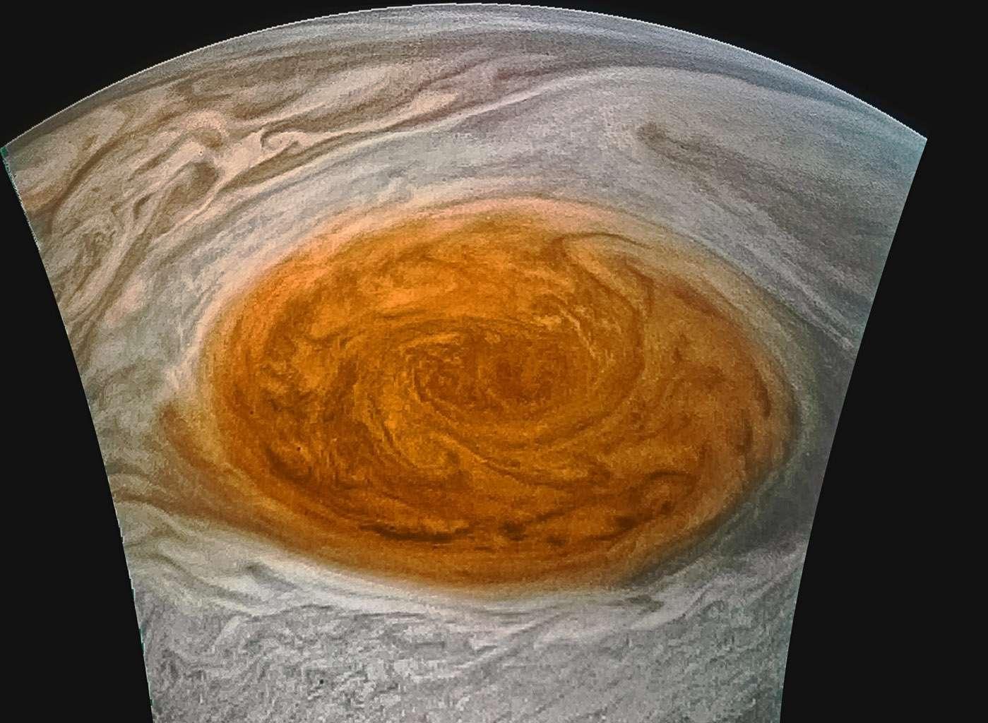 enhanced image of Jupiter's great red spot taken with JunoCam