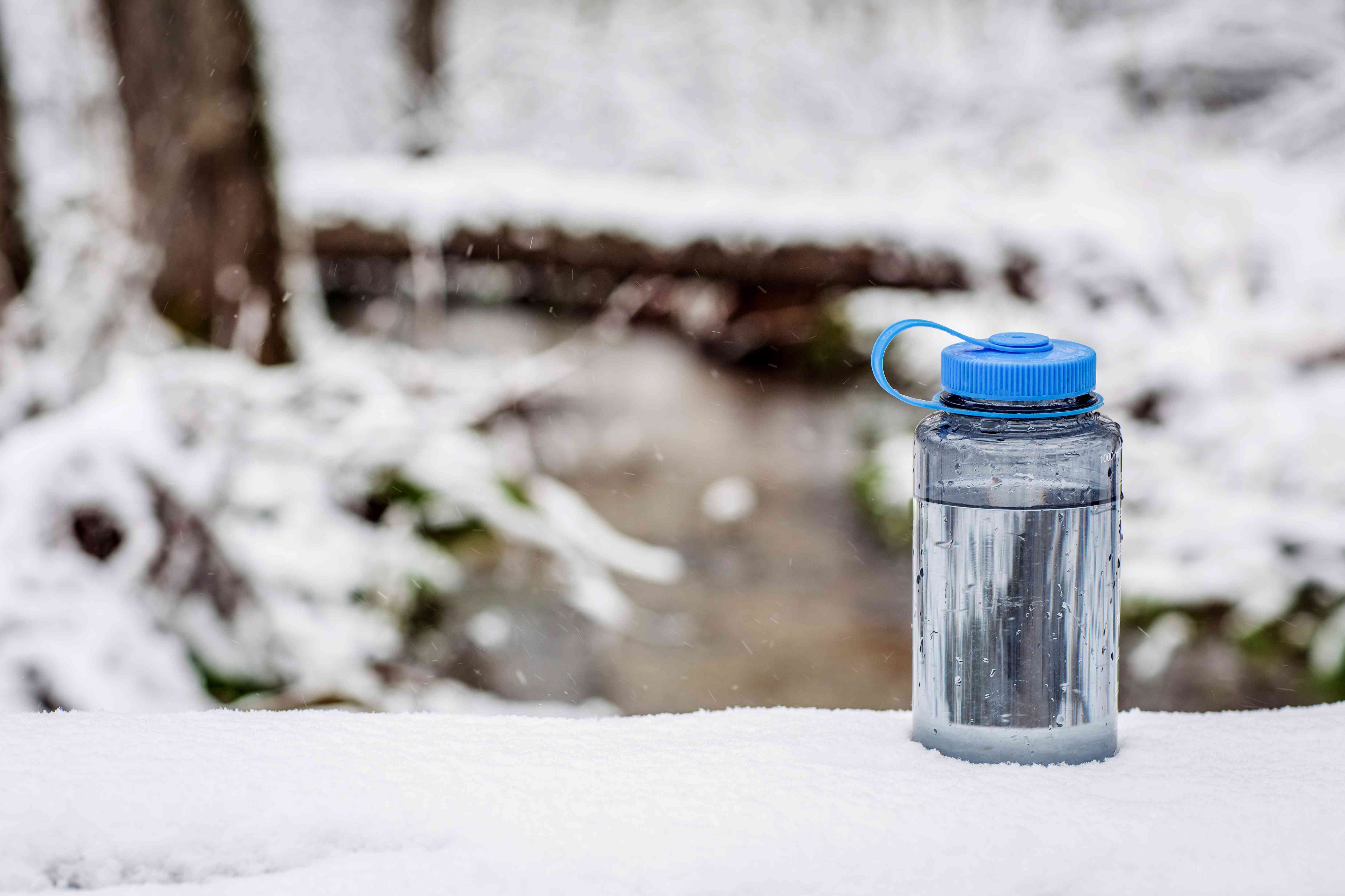 water bottle in the snow in a forest