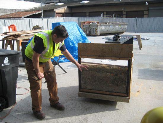An artist in safety gear touching a wood bin.