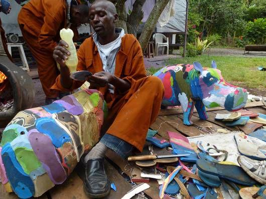 preparing flip flops for sculpting