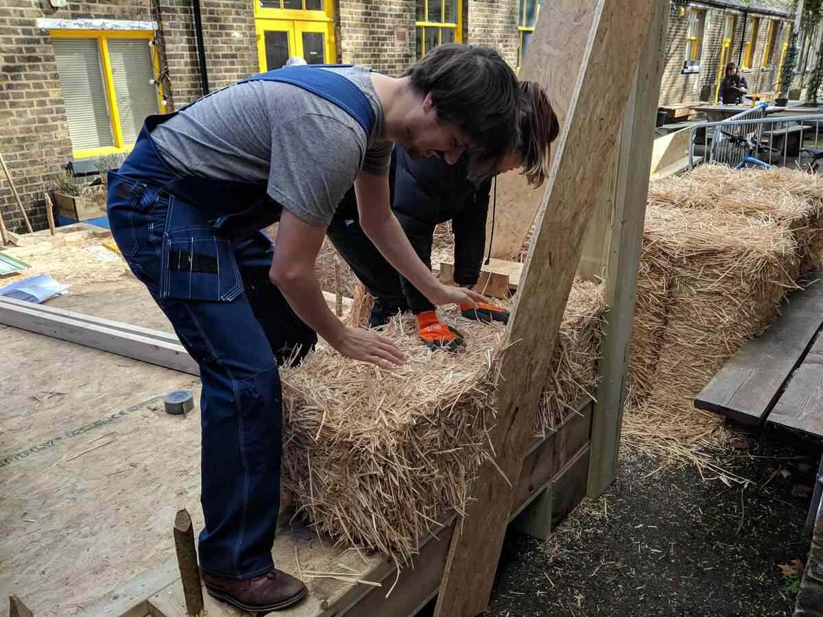 installing straw bale