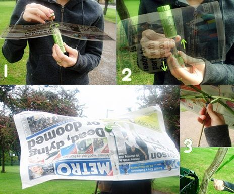 El diseño inteligente usa el periódico para hacer un paraguas real