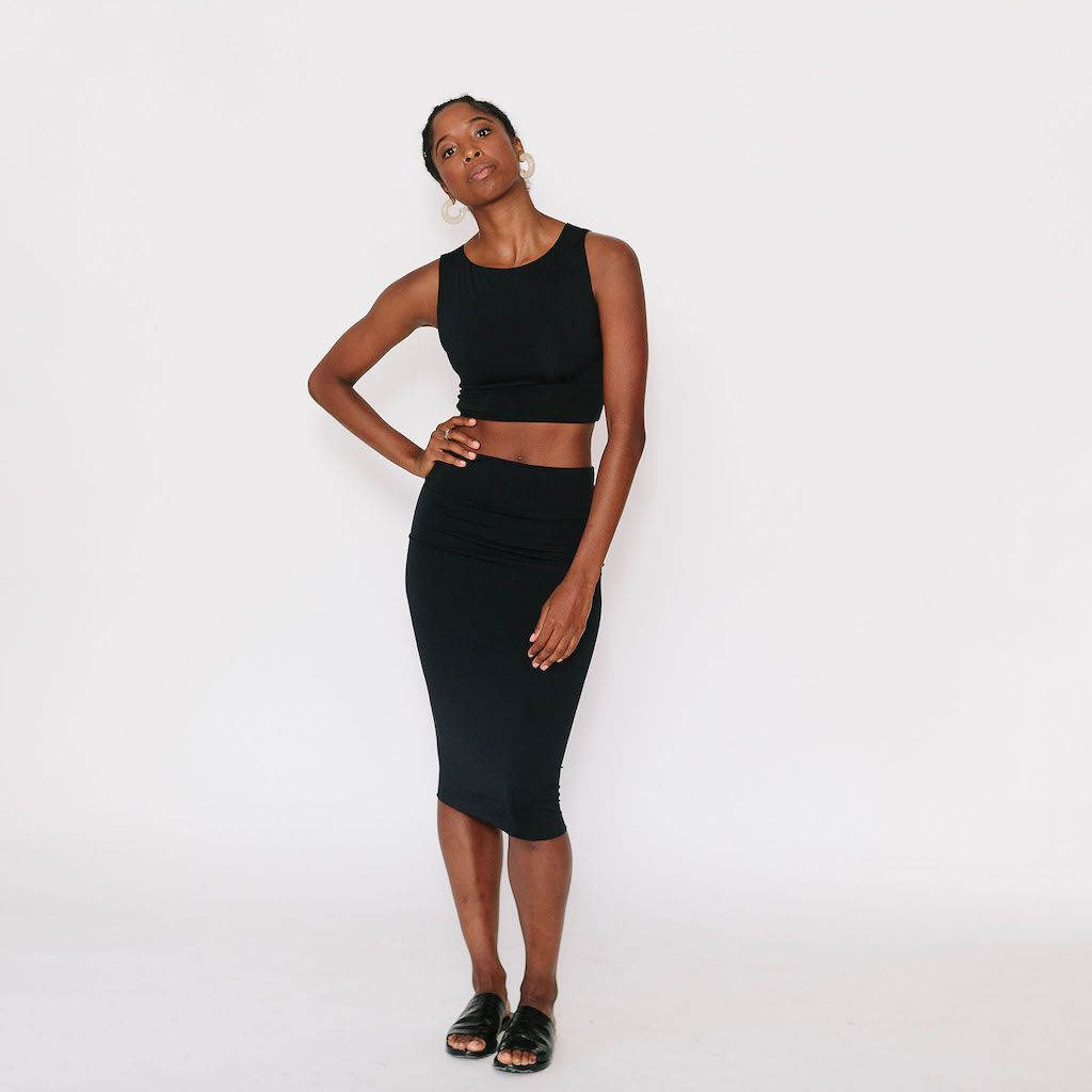 époque evolution's pencil skirt and crop top