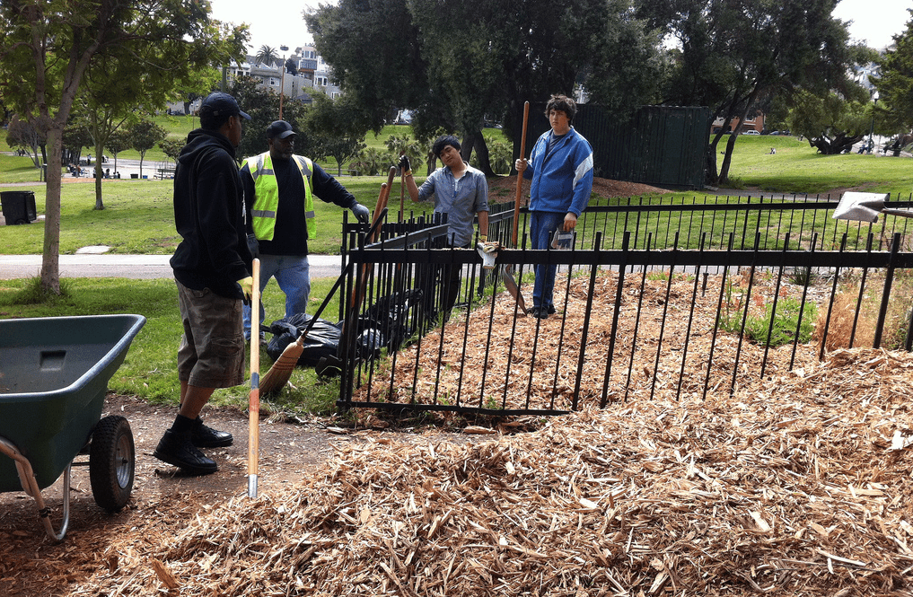 Volunteers help to spruce up Dolores Park in San Francisco on Earth Day 2011.
