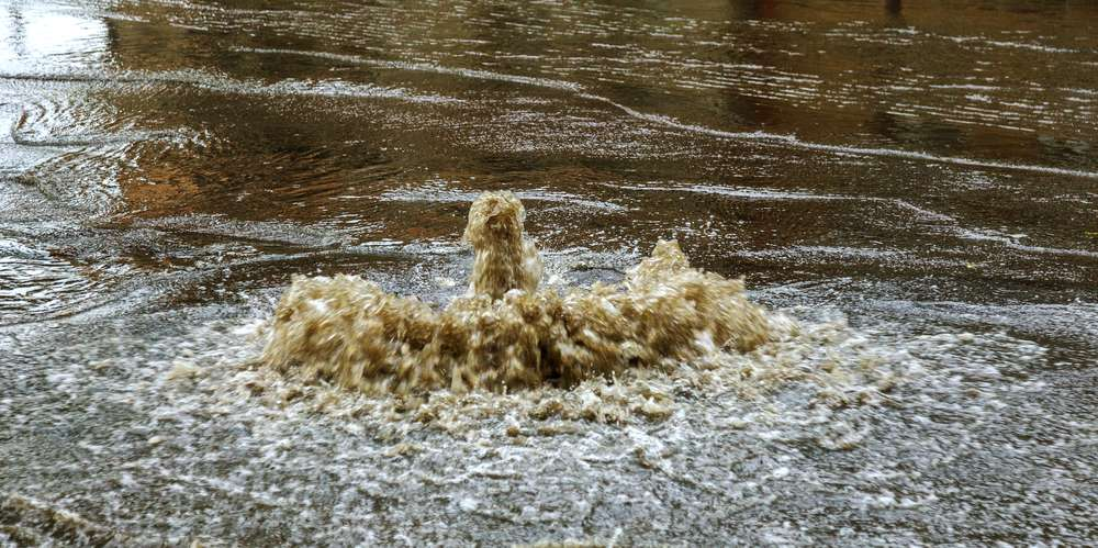 Sewage water overflowing from sewage system