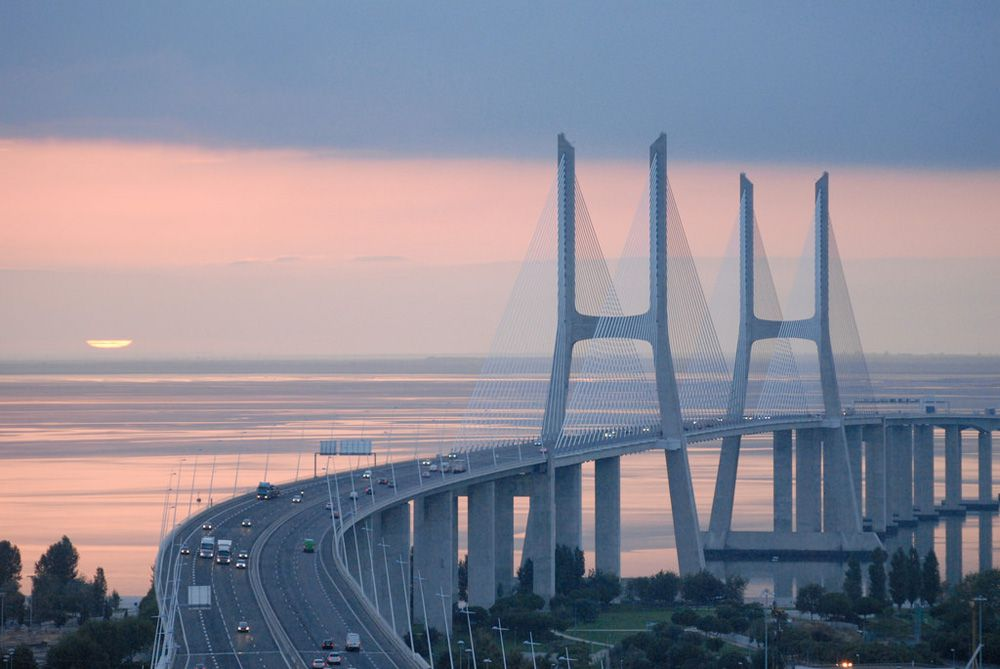Vasco da Gama Bridge at sunrise