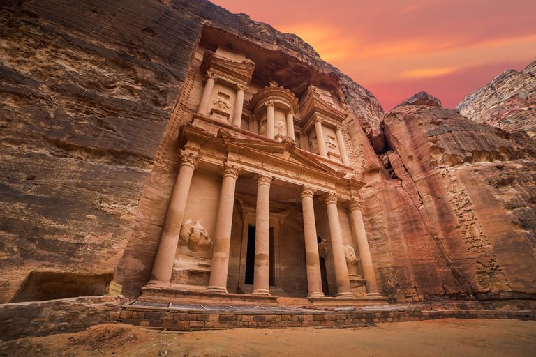 The rock cut architecture of Petra, Jordan