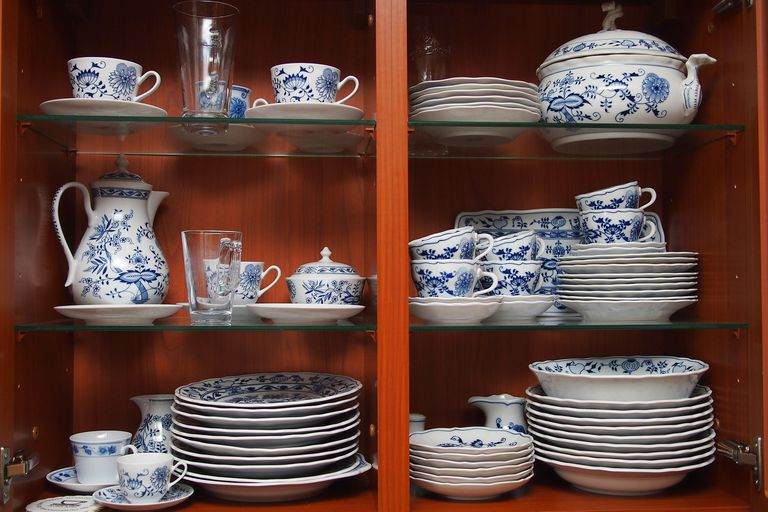 Cabinet full of a matching set of fine dishes
