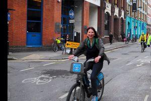 Rosalind Readhead on a bike