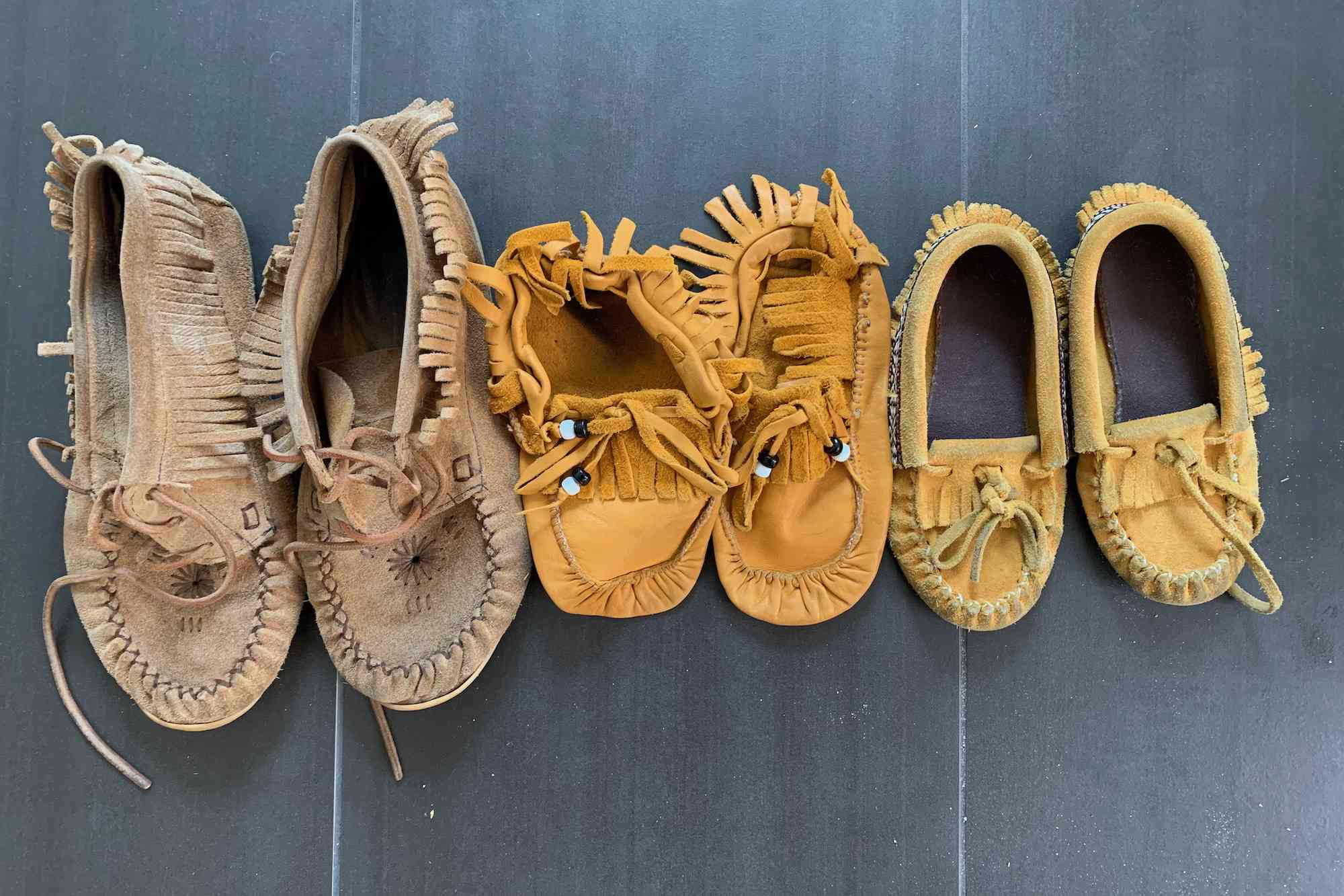 a collection of moccasins