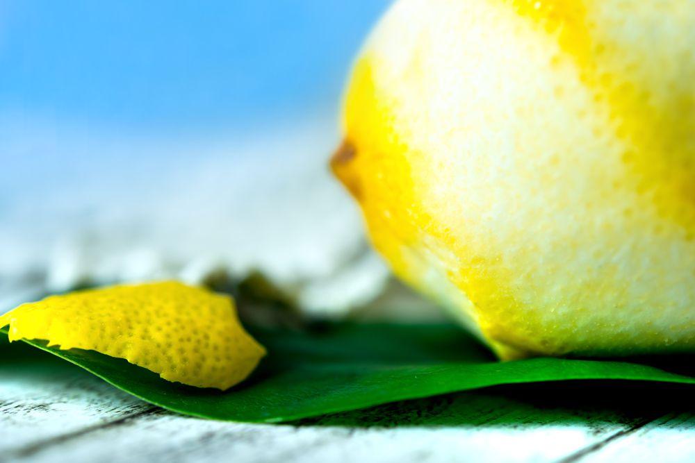 closeup of lemon with peel