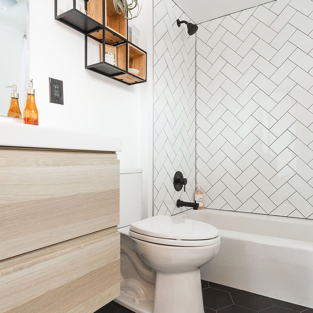 Shower and toilet in the bathroom