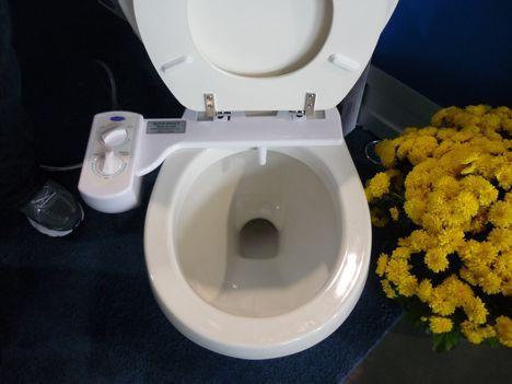 bluebidet toilet paper bathroom bidet photo