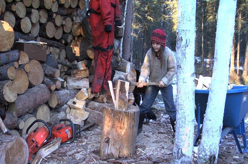 Kate chopping wood