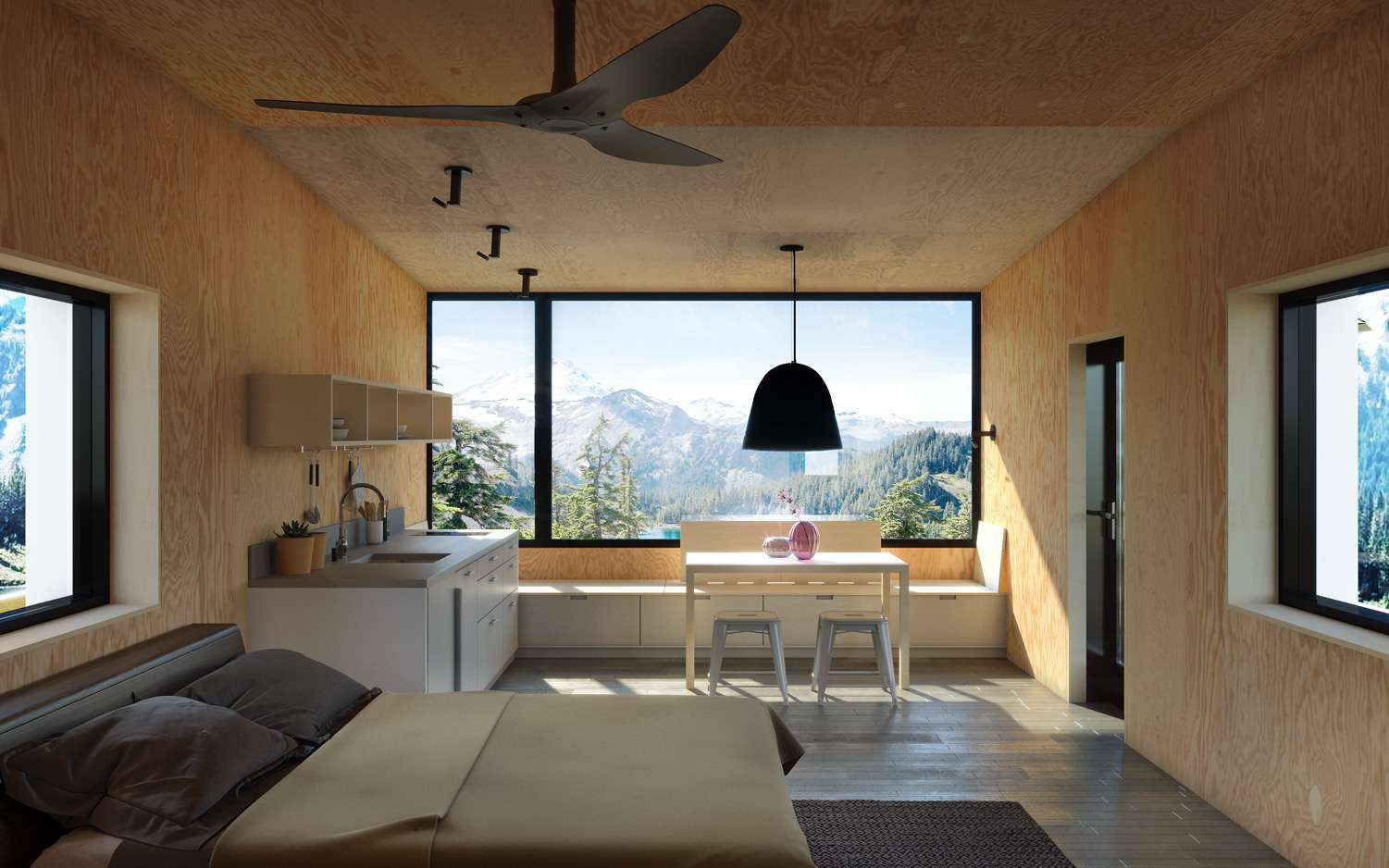 L1 unit interior with wood texture walls, a large window, and a bed in the foreground
