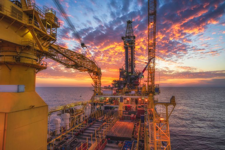 An offshore oil drilling rig in the Gulf of Thailand