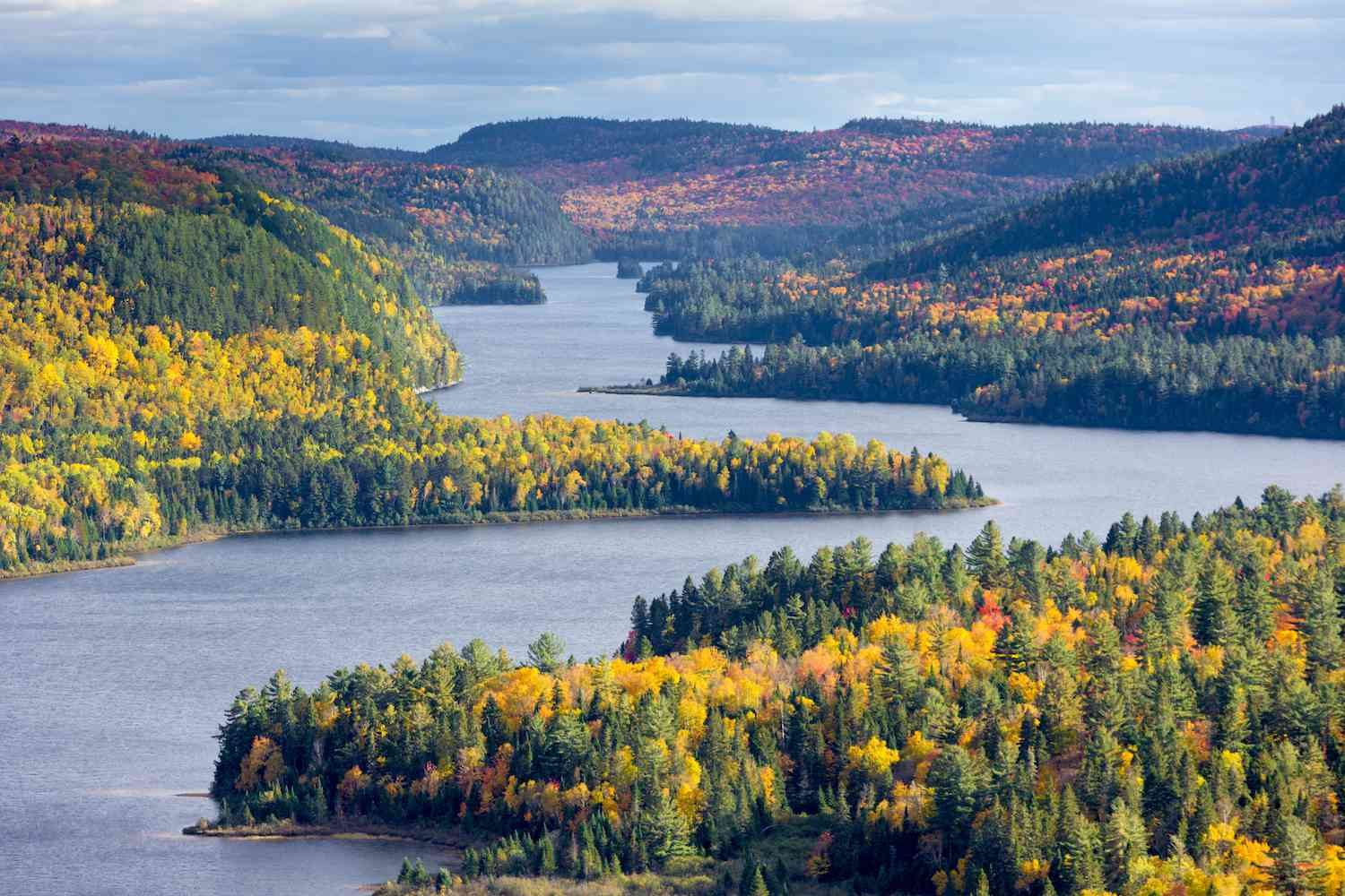 Greens, yellows, and reds paint the autumnal riverside forests of La Mauricie National Park