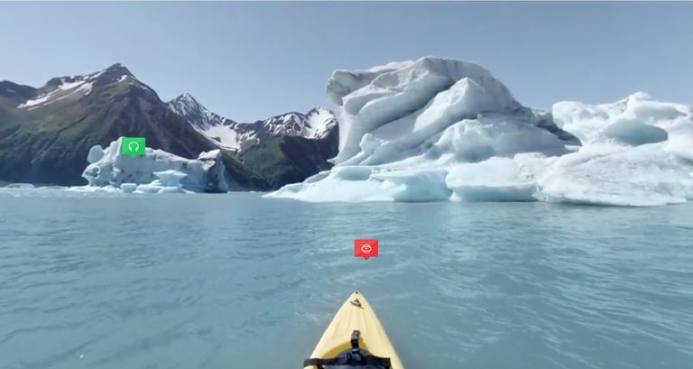 A kayaking scene from the Hidden Worlds virtual tour of Kenai Fjords National Park in Alaska.