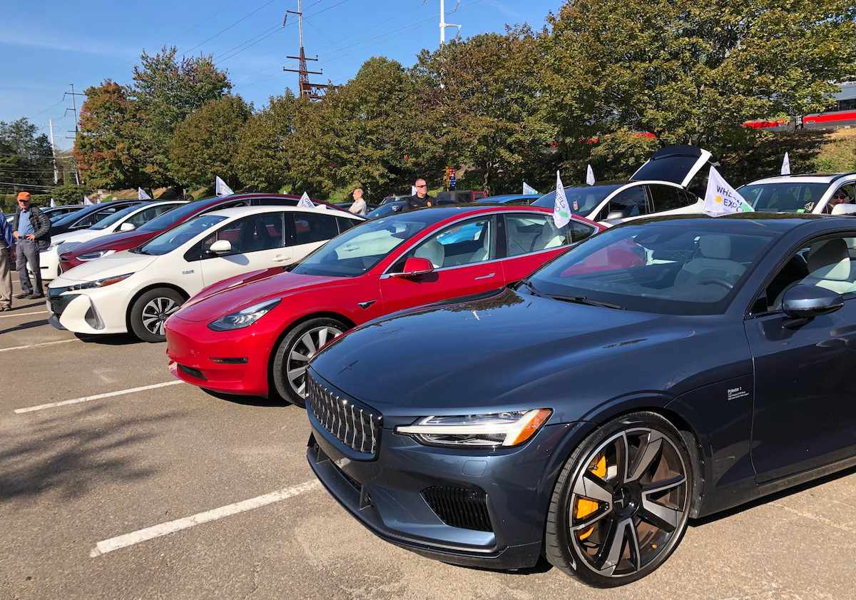 The Polestar 1 in line for Connecticut's EV Parade.