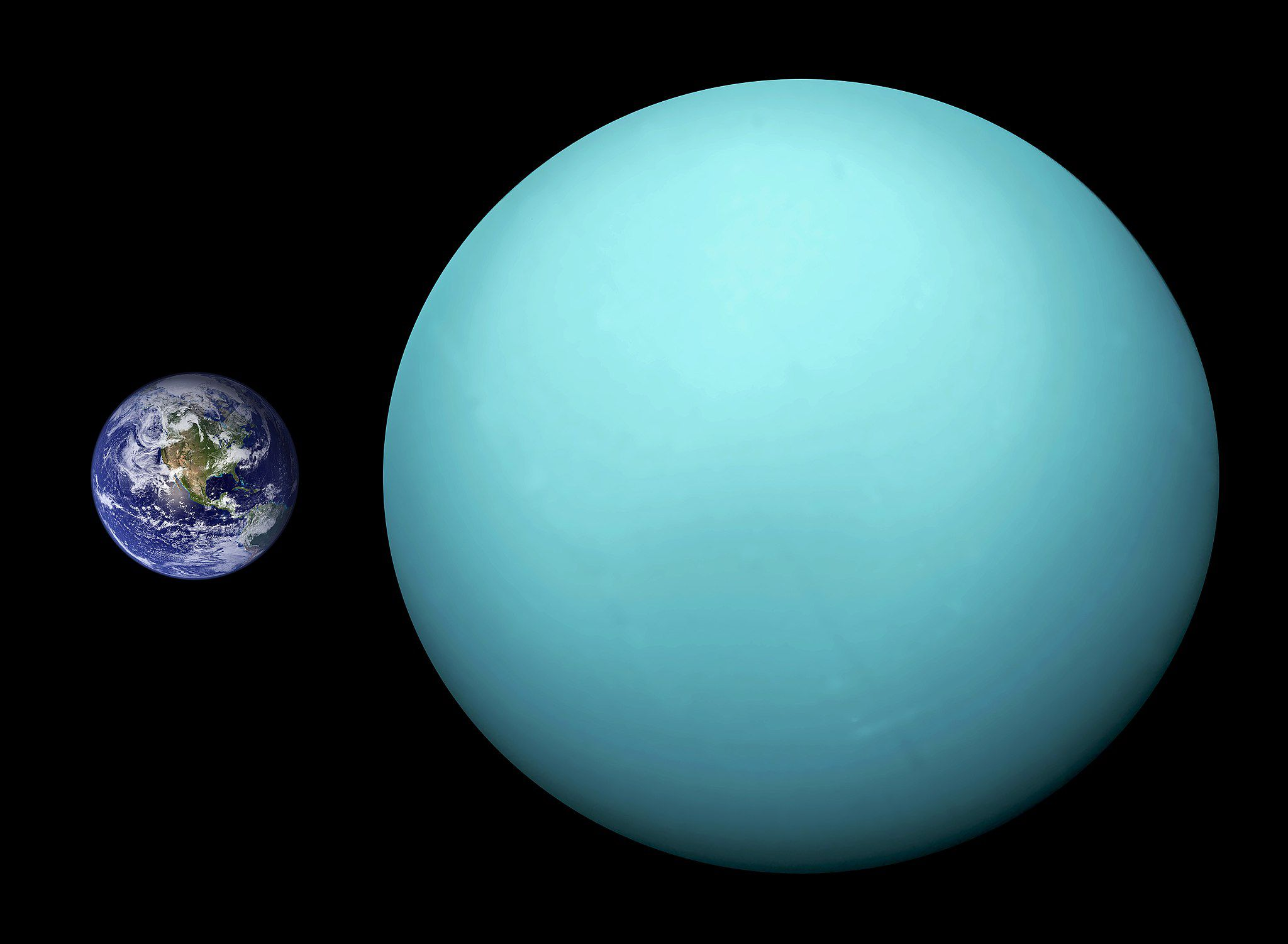 a comparison of sizes between Uranus and planet Earth