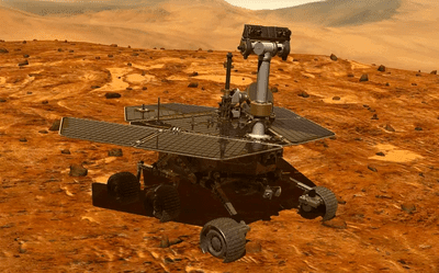 An illustration of the Mars Opportunity rover on the surface of the red planet