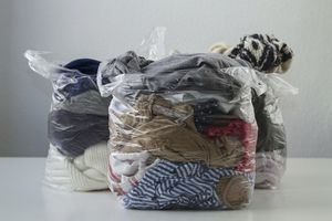 old clothes in bags