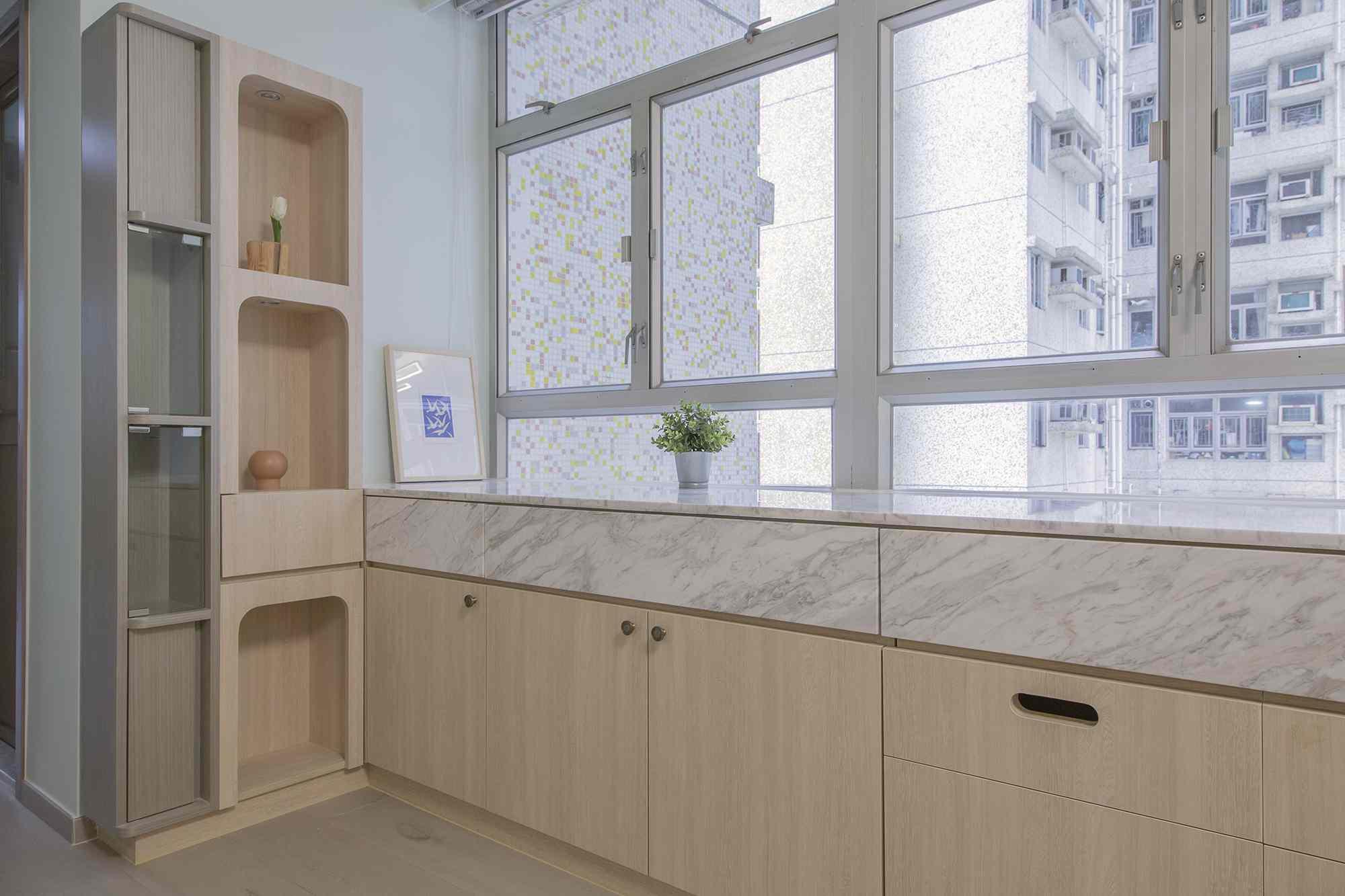 Floral Aged House apartment renovation by Sim-Plex Design Studio family shrine