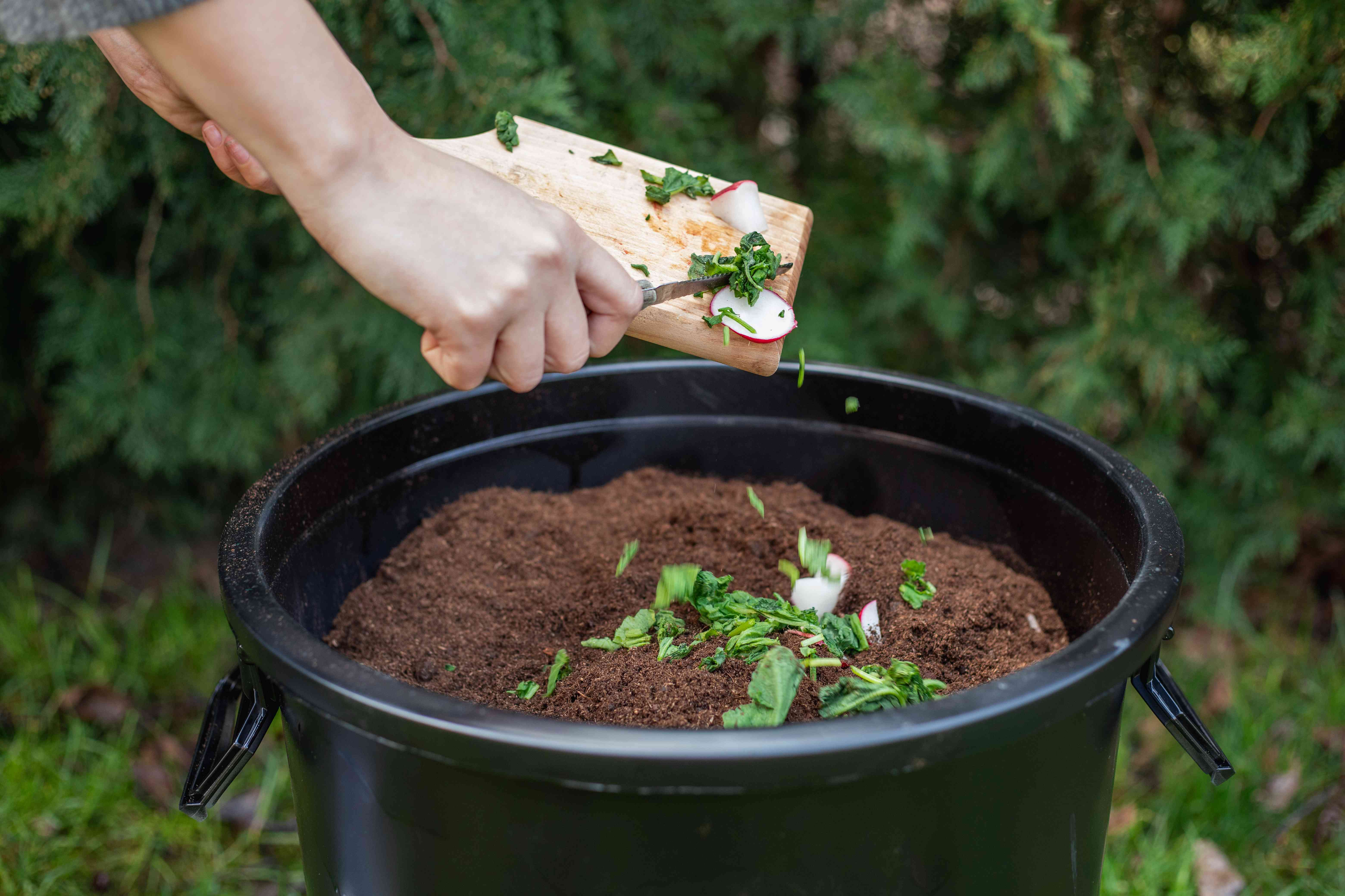 hands brush vegetable scraps and clippings into compost bucket filled with soil