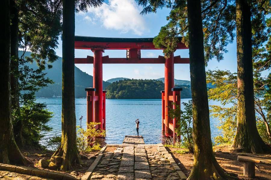 Torii gate at a shrine in Hakone National Park