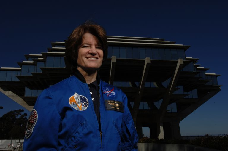 Astronaut Sally Ride outside smiling