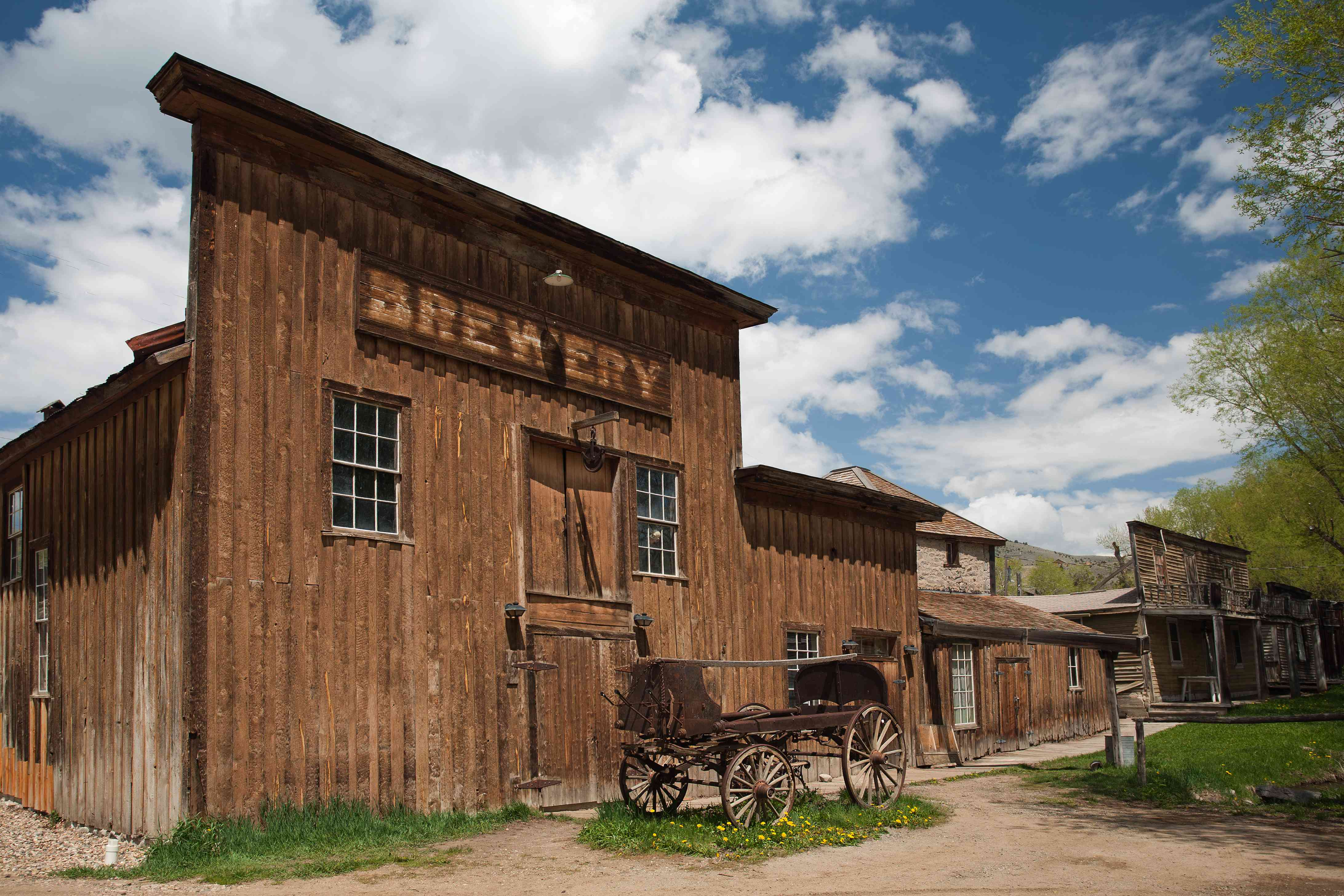 Old-style brewery and horse-drawn cart in Virginia City