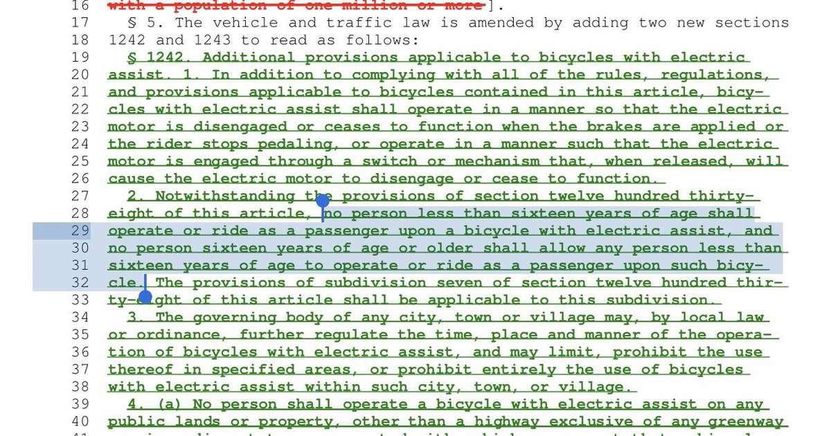 legislation that bans carrying kids on ebikes