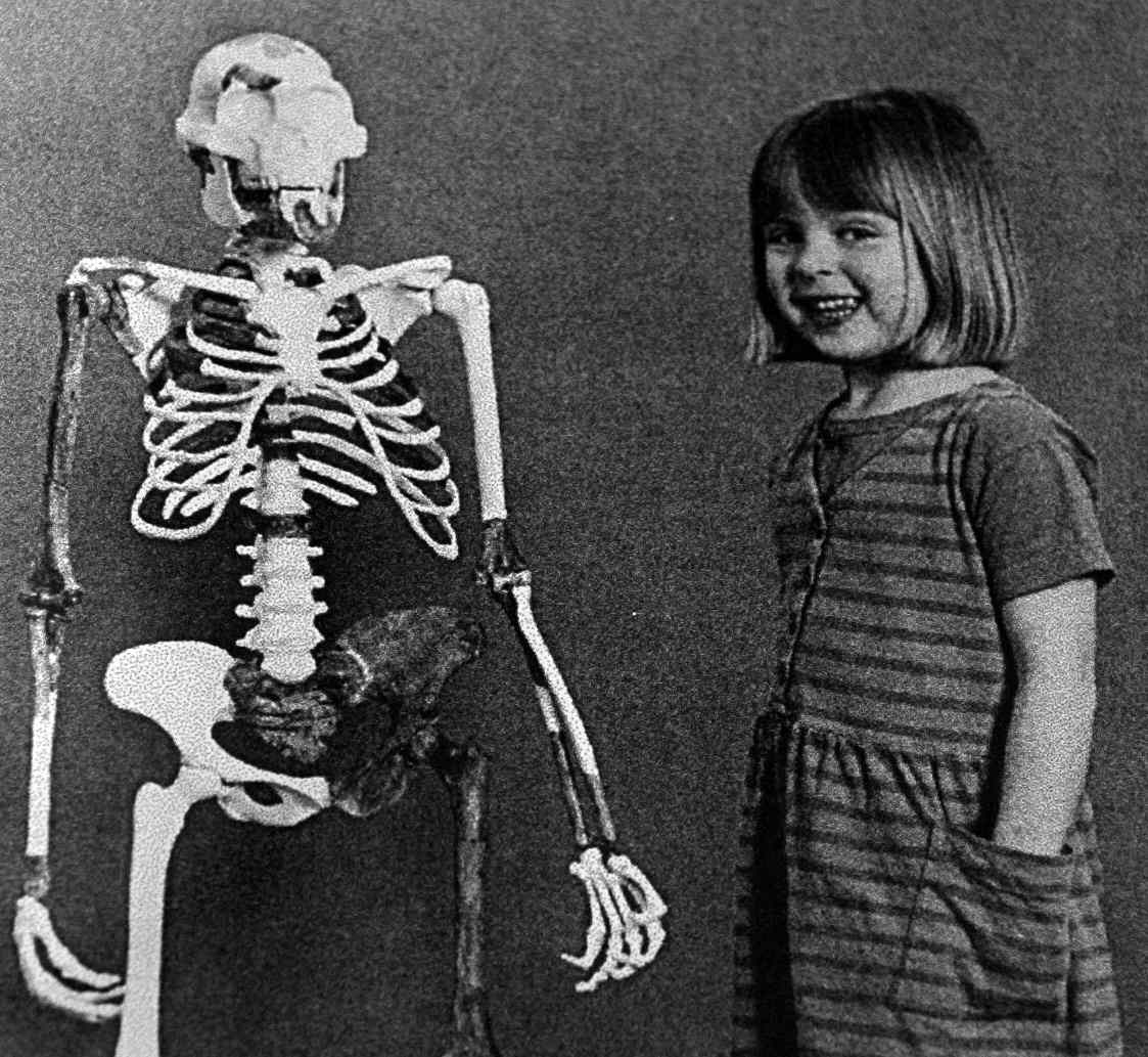 A human child poses next to the skeleton of an adult Australopithecus afarensis