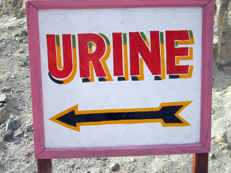 """Sign with """"URINE"""" and a left-pointing arrow on it"""
