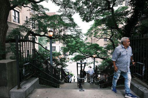 A man walking through a park