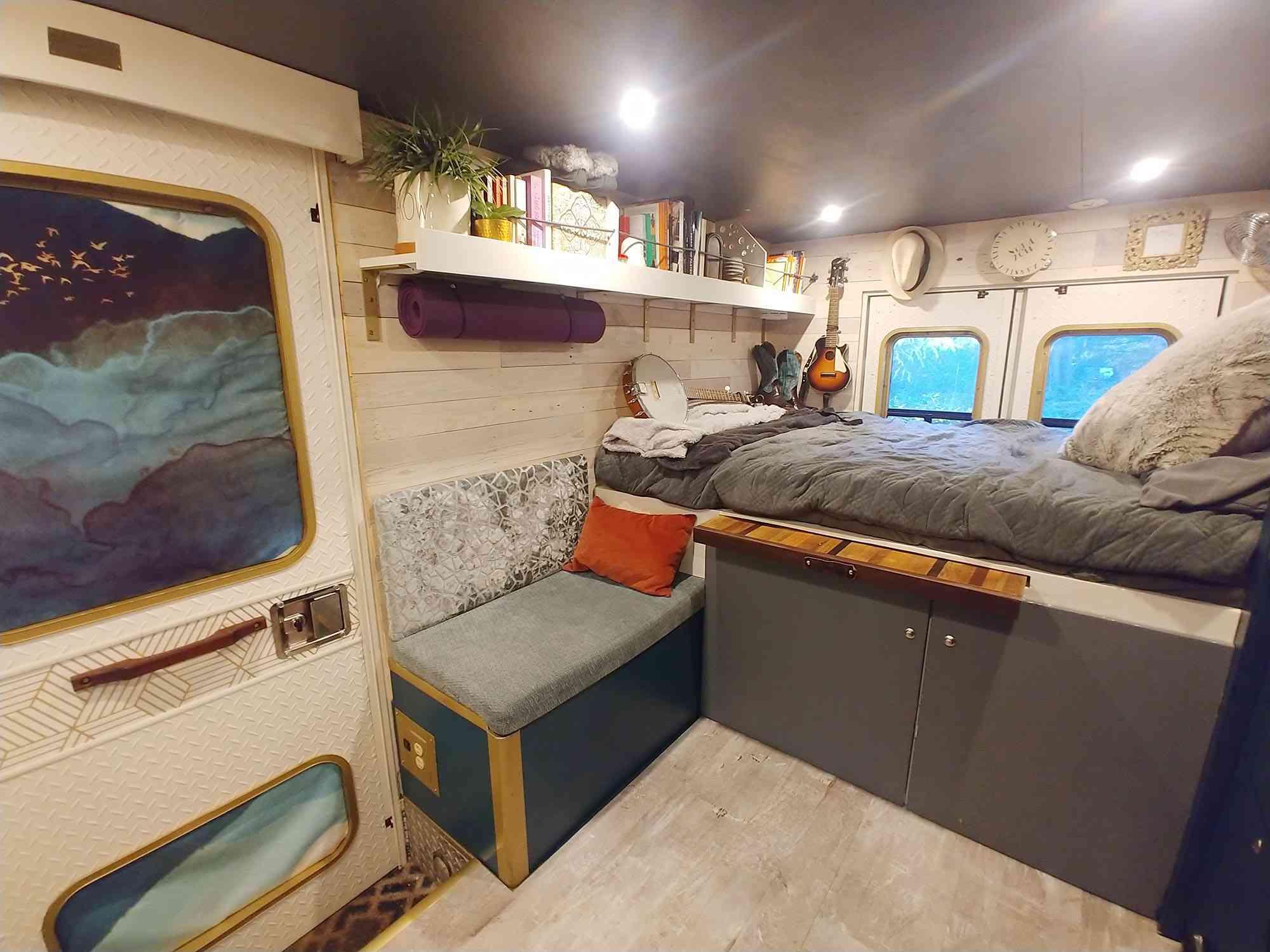 ambulance conversion Amanda Lemay bed and bench