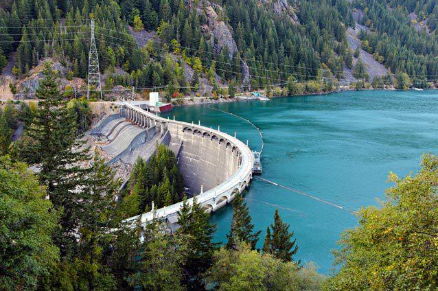 Diablo Dam holds back the jade-green waters of Diablo Lake in Washington state.