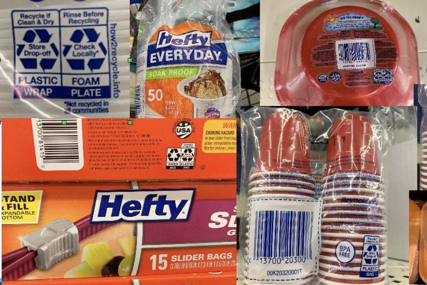 Store drop-off label on Hefty products
