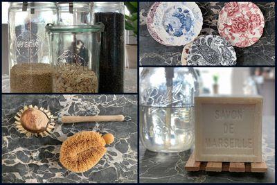 collage of zero waste kitchen items