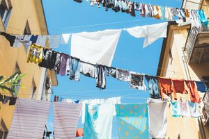 clothes hanging to dry
