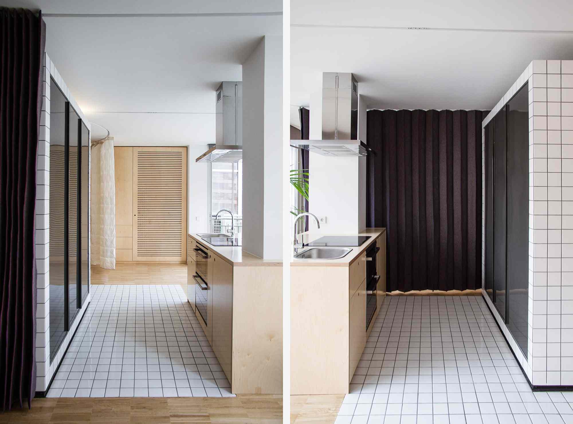 JM55 microapartment renovation by BURR Studio kitchen