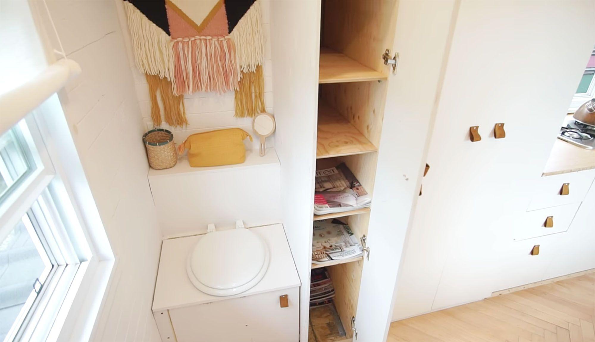 family of three diy tiny house transformer furniture bathroom