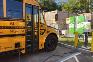 Beverly's electric Thomas Built school bus, powered by Proterra, hooks up to the grid.