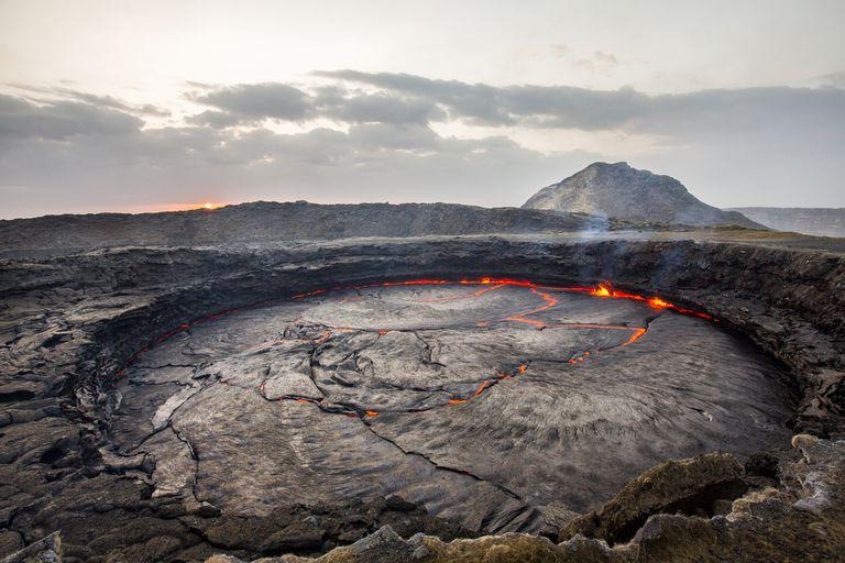 The active Erta Ale volcano in Ethiopia at sunrise