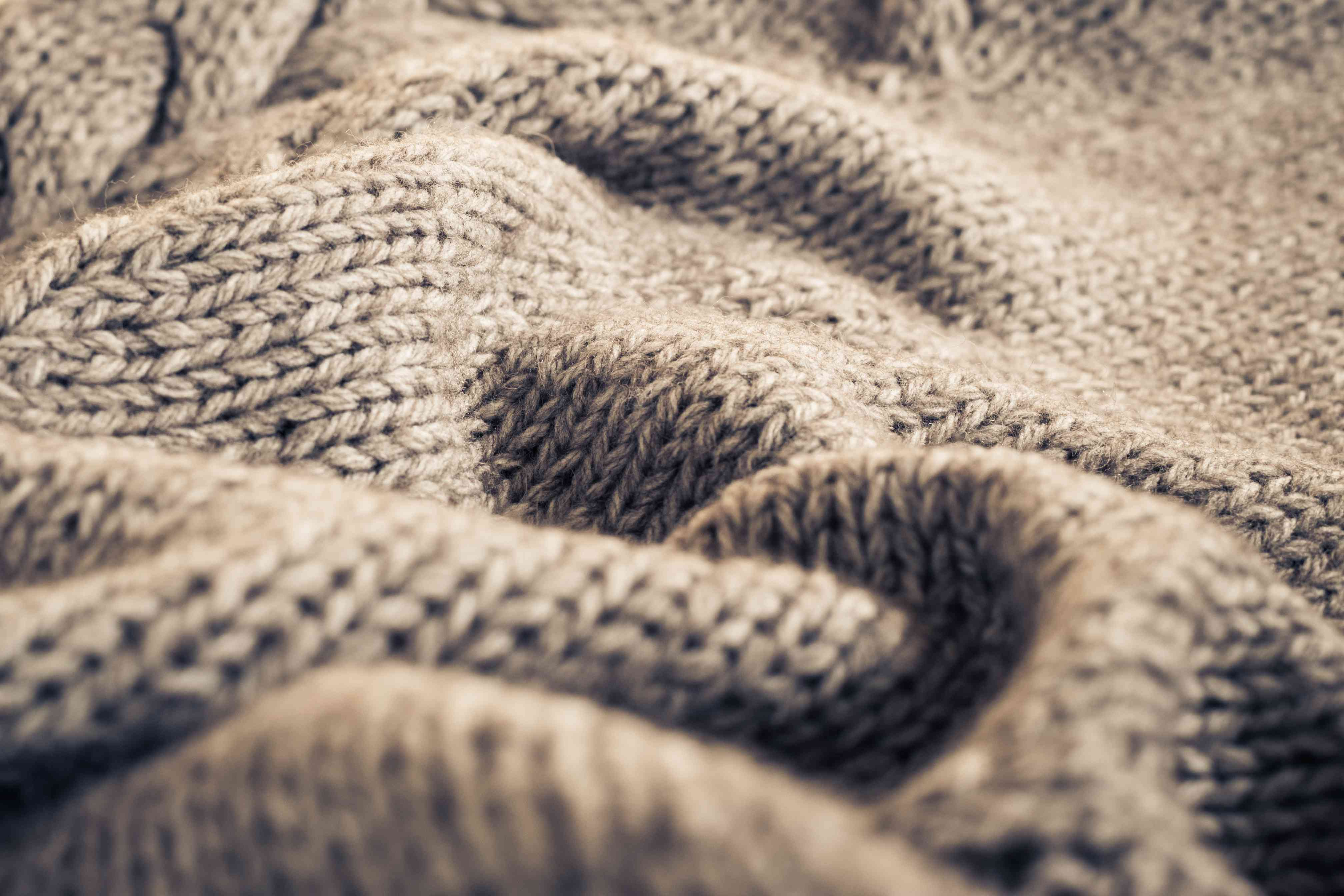 closeup of knitted wool fabric