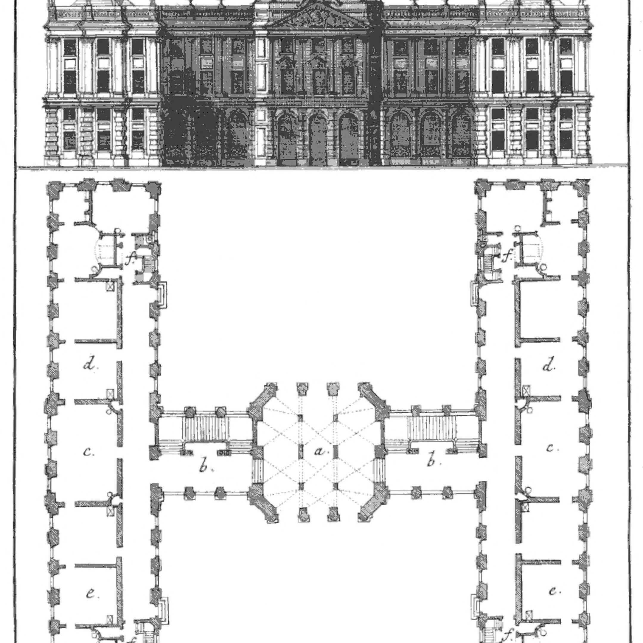 An illustration of a building that is shaped in the letter H.