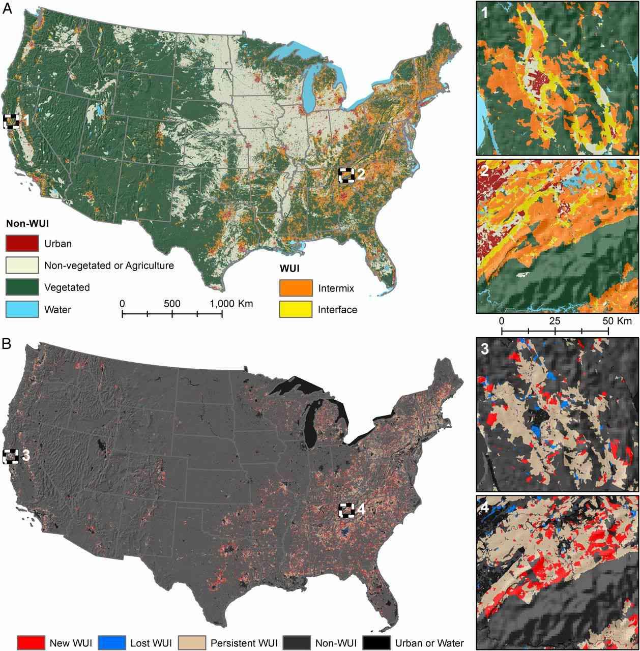 Rapid growth of the US wildland-urban interface raises wildfire risk