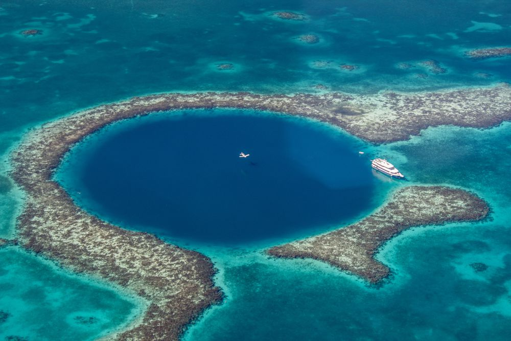 The Great Blue Hole off the coast of Belize