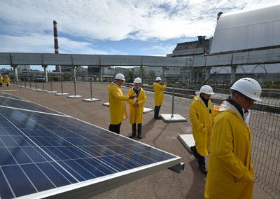About 3,800 photovoltaic panels have been installed just a few hundred feet from the No. 4 reactor.
